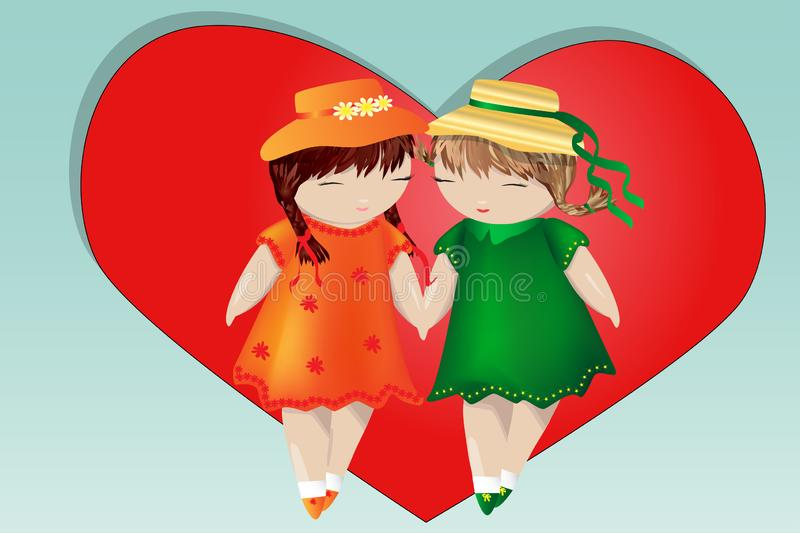 Happy valentine's day. A pair of girls on the background of the heart. The concept of same-sex lesbian love, a pair of women. Happy valentine's day. A pair of royalty free illustration
