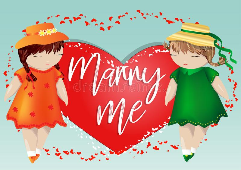 Happy valentine's day. A pair of girls on the background of the heart. The concept of same-sex lesbian love, a pair of women. Happy valentine's day. A pair of stock illustration