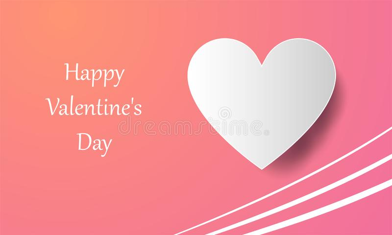 Happy Valentine`s Day, Paper element on orange pink gradient background, symbol of love, heart shape, greeting card template stock illustration