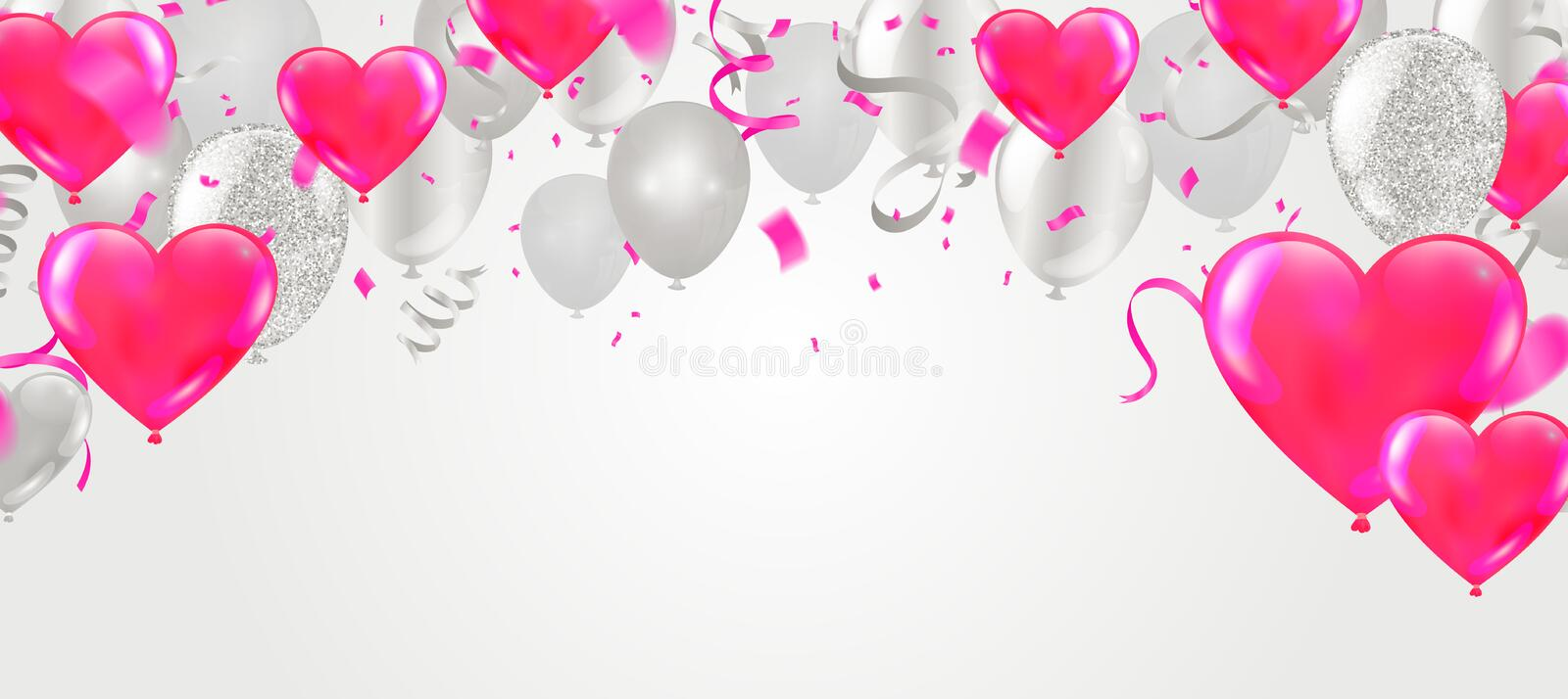 Happy Valentine`s Day Party Flyer. Beautiful Background with Realistic Air Balloons Couple day event banner, lovely design. Eps.10 stock illustration