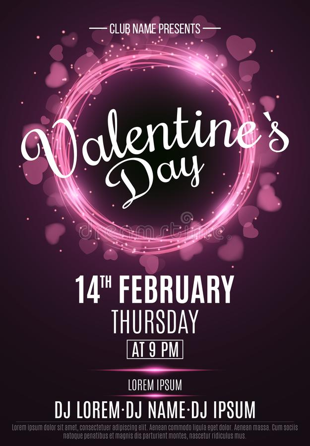 Happy Valentine`s Day party flyer. Neon glowing pink banner with flying blurred hearts. Twisted stripes. DJ and club name. Magica royalty free illustration