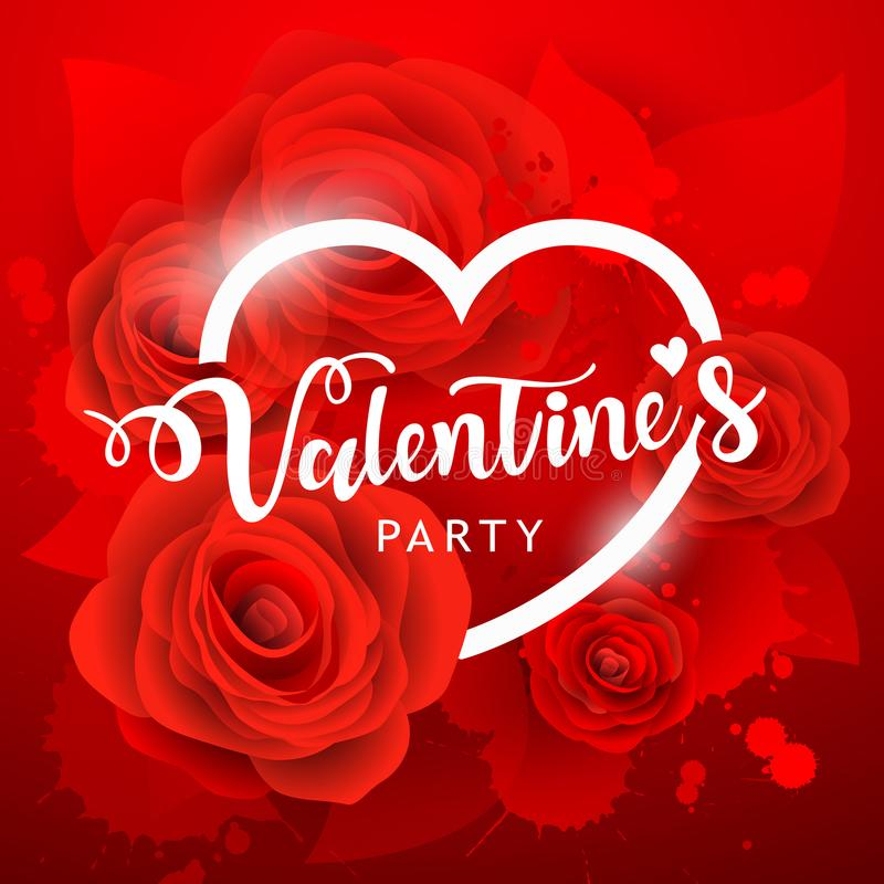 Happy Valentine`s day party white message and red rose background. Vector illustration stock illustration