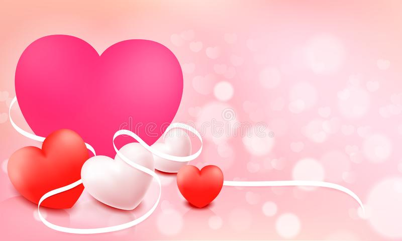 Happy Valentine`S Day. With Pink Pastel Background. Vector illustration stock illustration