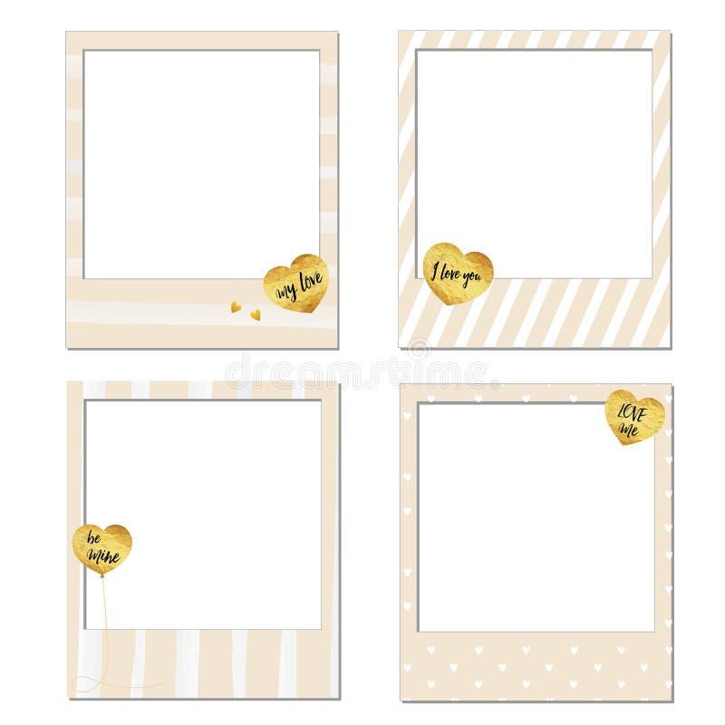 Happy Valentine's day Polaroid frames vector illustration