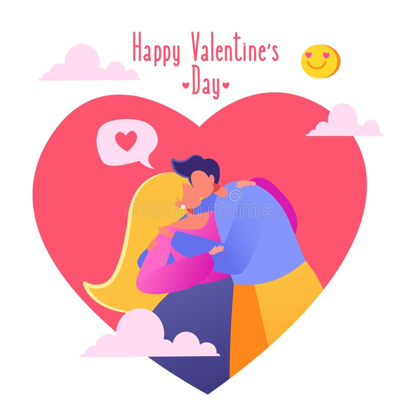 . Lifestyle concept on Valentine Day theme. Valentine`s Day сard. Romantic vector illustration on love story theme. Happy flat people character. Couple in royalty free illustration