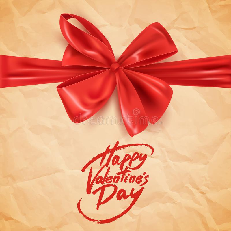 Happy Valentine`s Day postcard with decorative red bow, vector illustration royalty free illustration