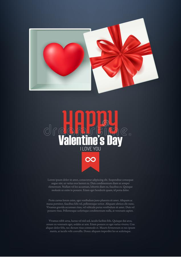Happy Valentine`s day postcard, heart in open gift box with red bow, vector illustration vector illustration