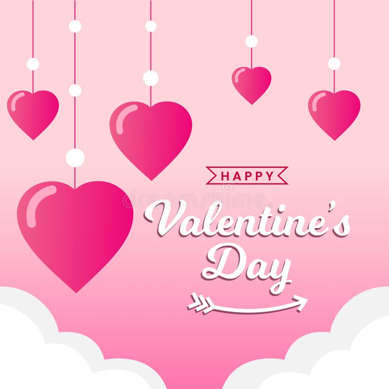 Happy Valentine`s Day poster background, greeting card template vector illustration