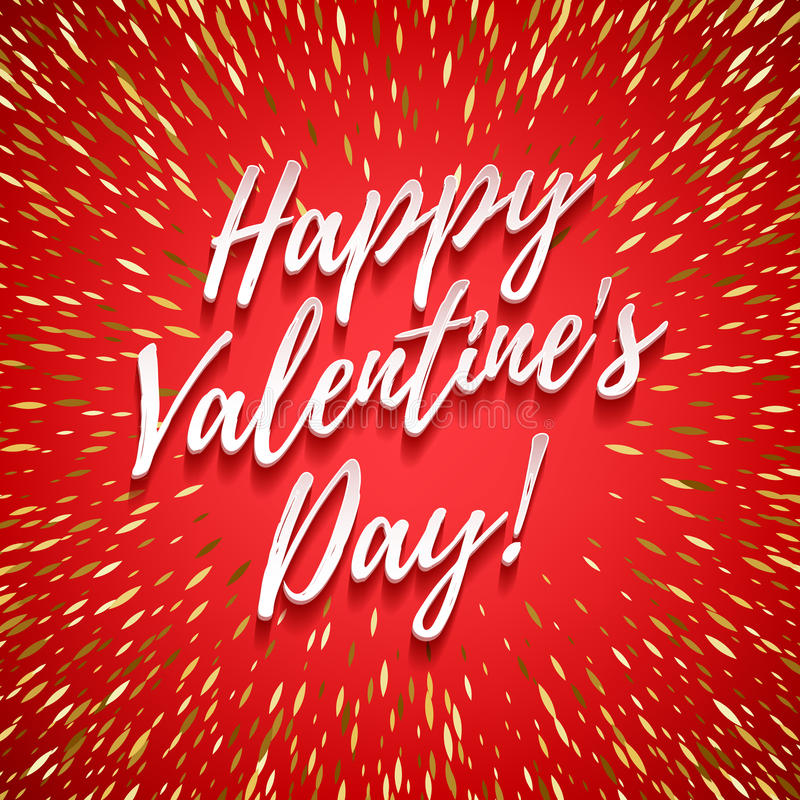 Happy Valentine`s day poster background. Love symbol. Happy Valentine`s day lettering background with shiny golden sprinkles. Love symbol. Beautiful holiday royalty free illustration