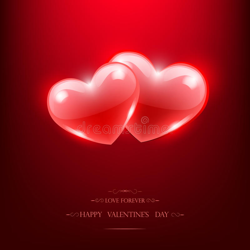 Happy Valentine's Day Poster. Two red glass hearts, stock photography