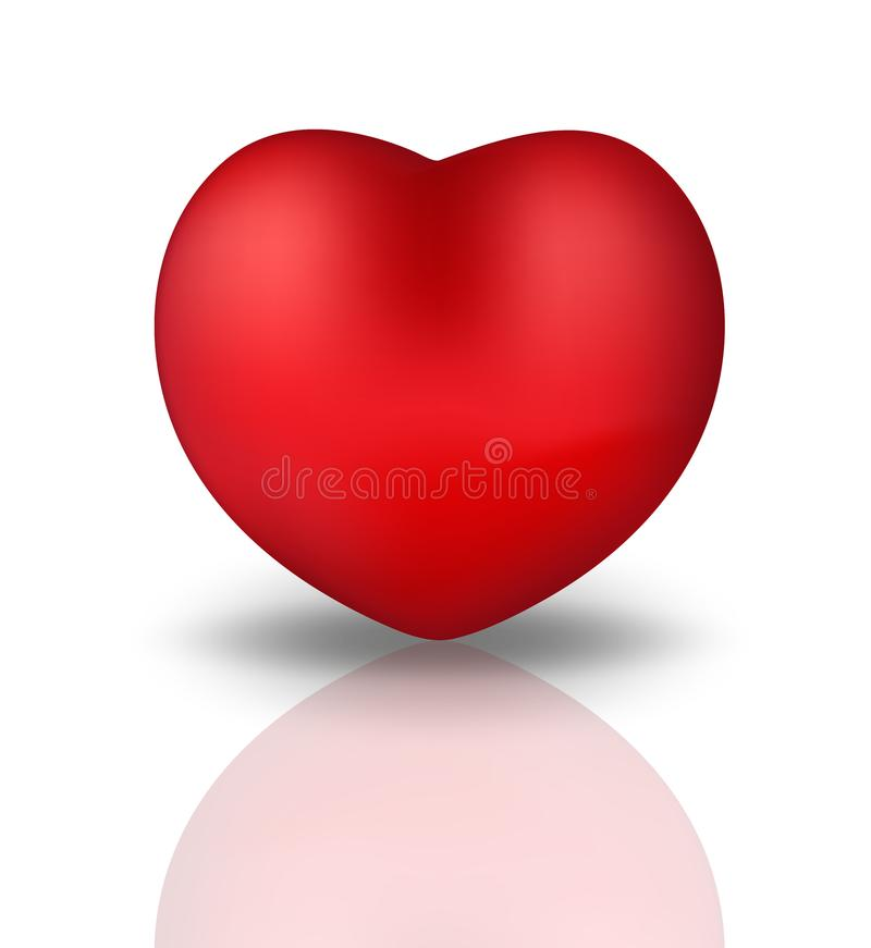 Happy Valentine`s Day realistic 3d heart. Red heart Isolated on white background with reflection. Vector illustration. stock illustration