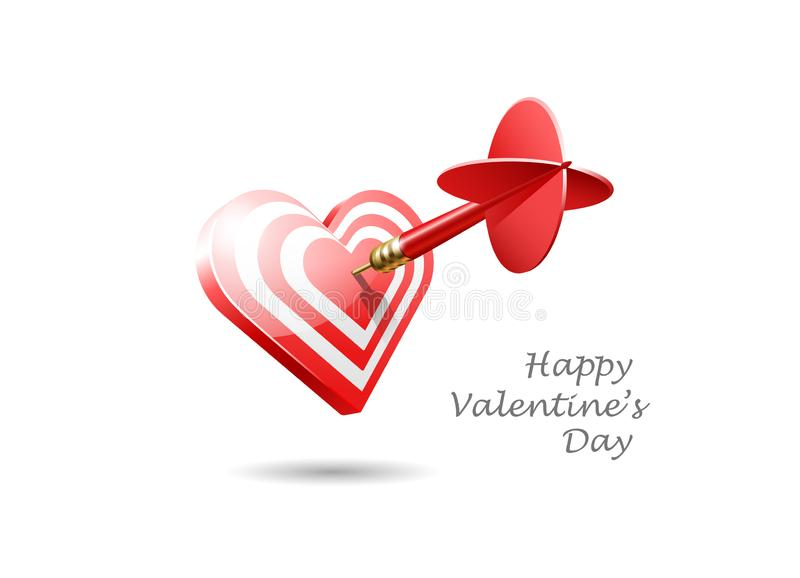 Happy Valentine`s day. The realistic red dart hits the center of a heart target. Vector illustration stock illustration