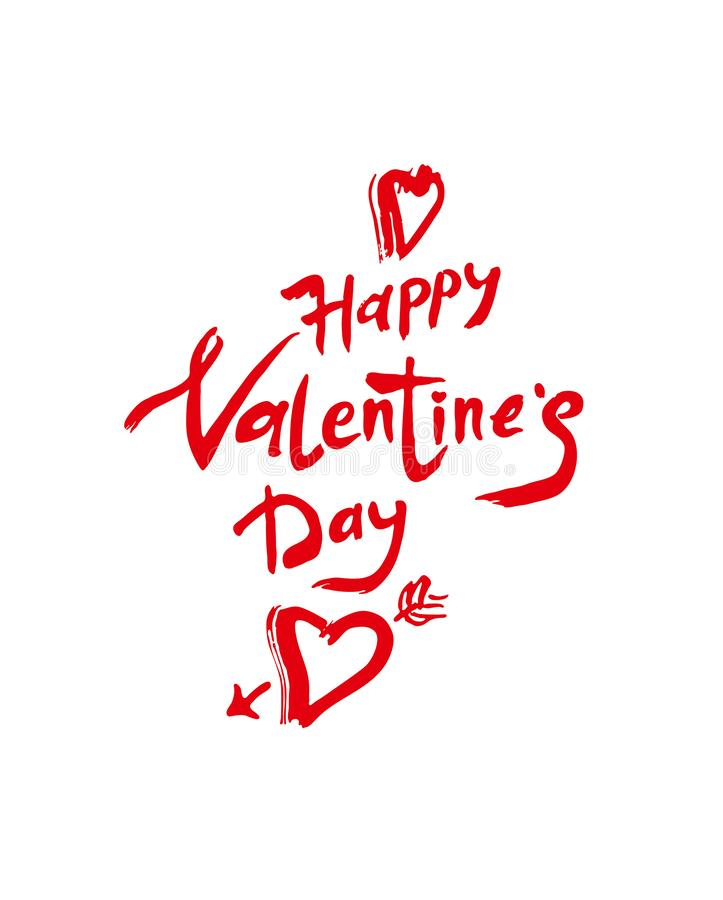 Happy Valentine`s Day. Red handwritten inscription and heart arrow isolated on white. Sketch illustration for Valentine`s day. royalty free illustration