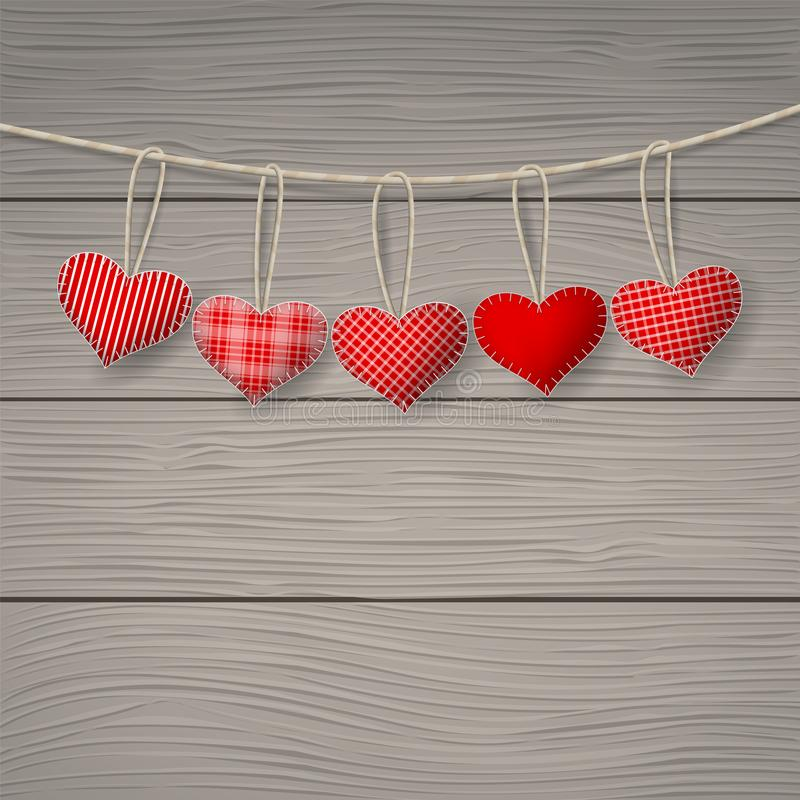 Happy valentine`s day. Red hearts hanging over wood background. Happy valentine`s day. Space for your text. Vector illustration stock illustration