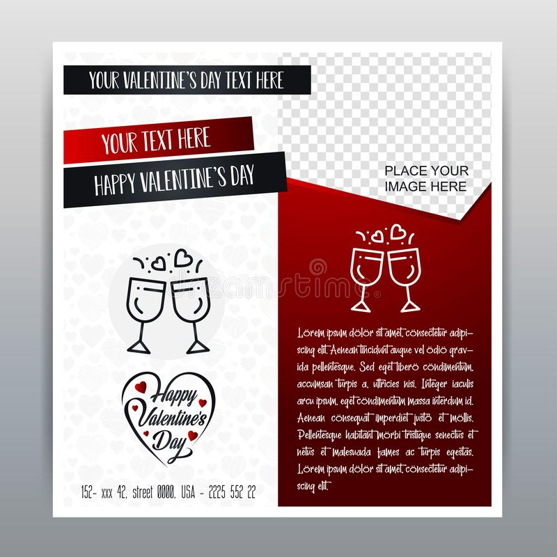 Happy Valentine\'s Day Red Icon Vertical Banner Red background. Vector illustration royalty free illustration
