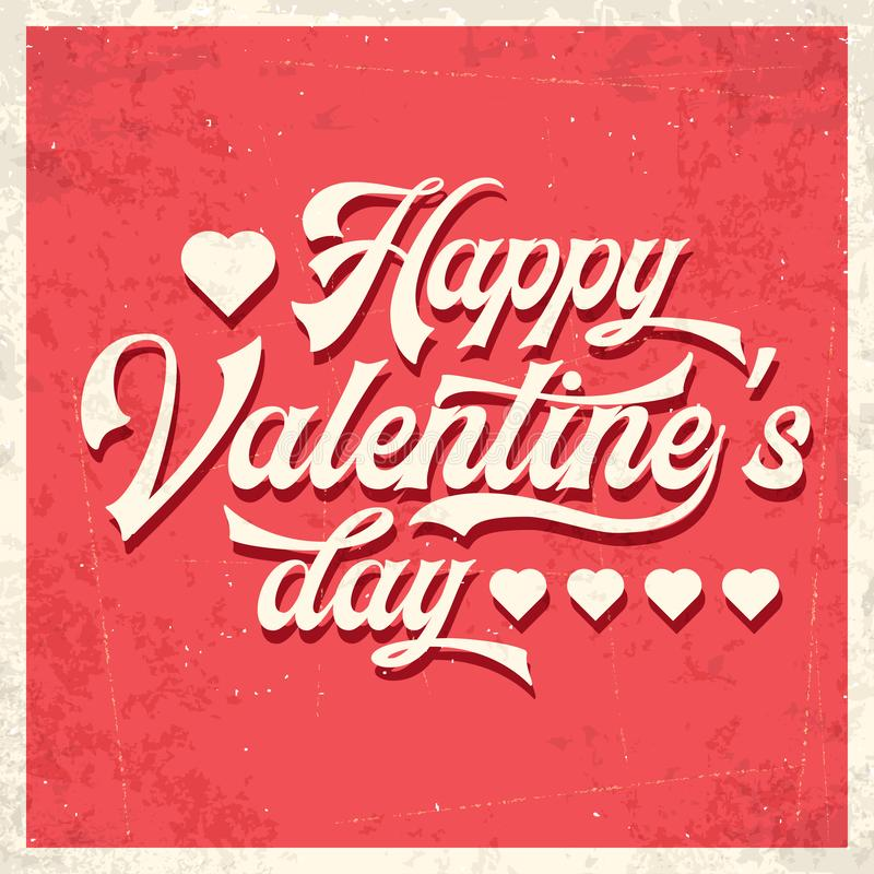 Happy Valentine`s day. Retro poster stock illustration
