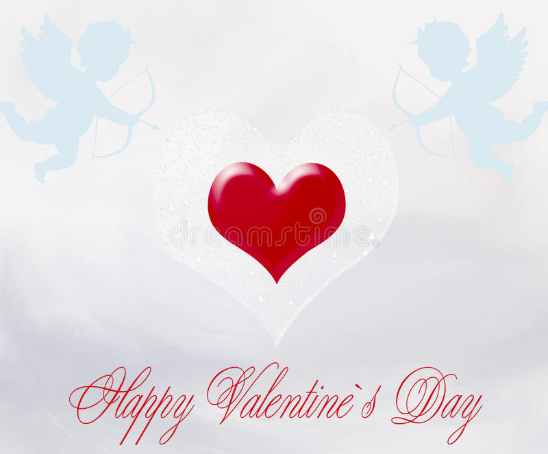 Happy Valentine`s Day. Romantic illustration Valentine's Day greeting card with a heart, cupids and arrows vector illustration
