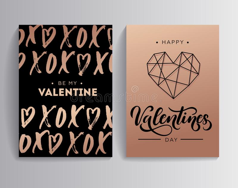 Happy Valentine`s day rose gold greeting card set with lettering. Card XOXO hugs and kisses with hearts. Linear modern design for card or invitation. Be my vector illustration