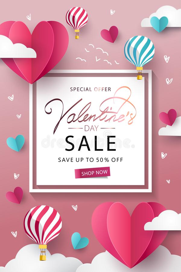Happy Valentine`s Day Sale background. Banner, poster or flyer design with flying Origami Hearts over clouds with air balloons in. The sky. Paper art, digital stock illustration
