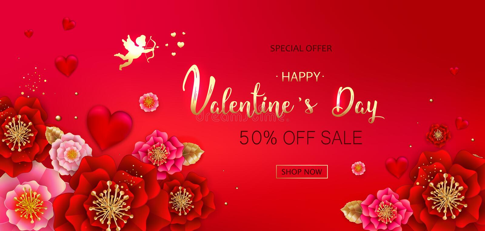 Happy Valentine`s day sale banner with beautiful colorful flower. S and hearts. Can be used for template, banners, wallpaper, flyers, invitation, posters vector illustration