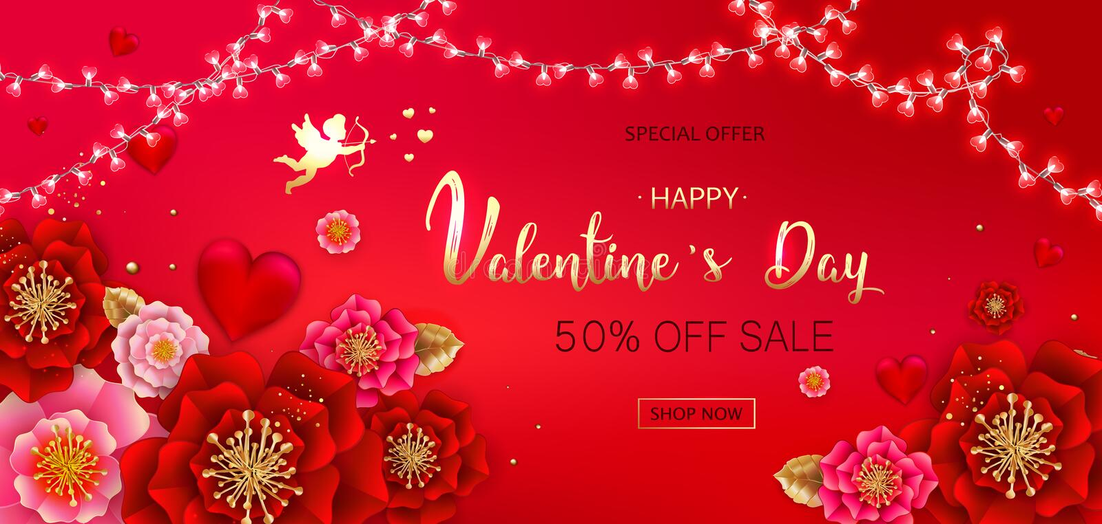Happy Valentine`s day sale banner with beautiful colorful flower. S and hearts. Can be used for template, banners, wallpaper, flyers, invitation, posters royalty free illustration