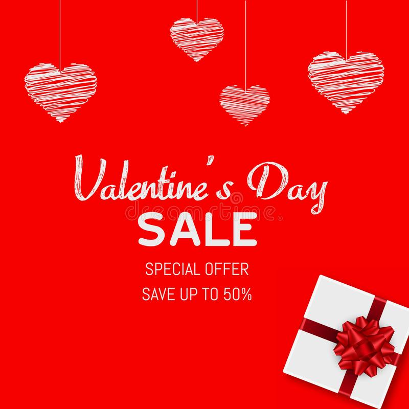 Happy Valentine`s Day sale card with gift box. Vector.  stock illustration