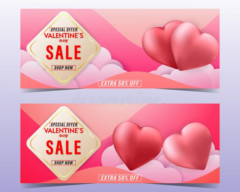 Happy Valentine`s day sale colorful background banner set with couple Heart balloon and cloud stock illustration