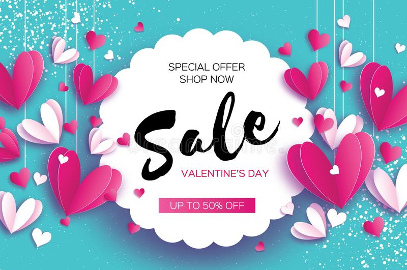 Happy Valentine`s day. Sale offer. Origami pink, white hearts in paper cut style on blue sky. Circle wave frame. Text. Shop market poster. Romantic Holidays royalty free illustration