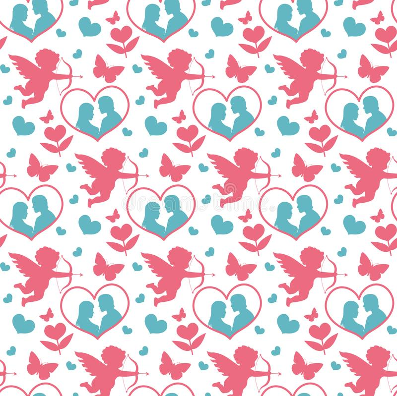 Happy Valentine`s Day seamless pattern. Cute romantic love endless background. Cupid, heart repeating texture. Vector stock illustration