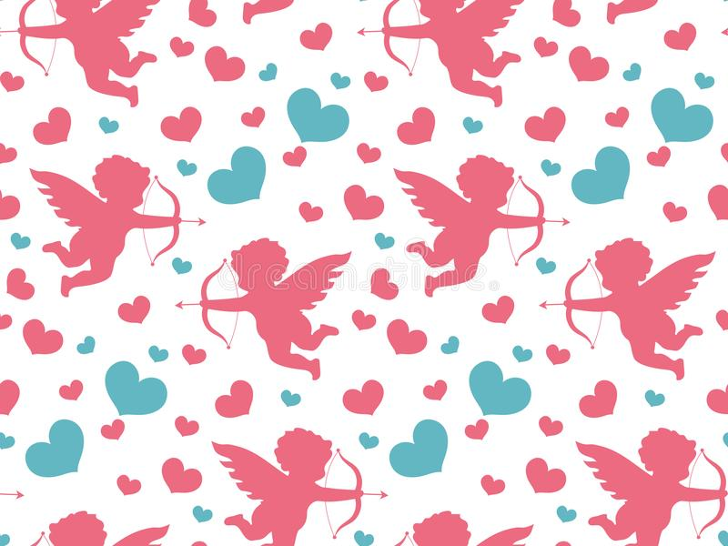 Happy Valentine`s Day seamless pattern. Cute romantic love endless background. Cupid, heart repeating texture. Vector vector illustration