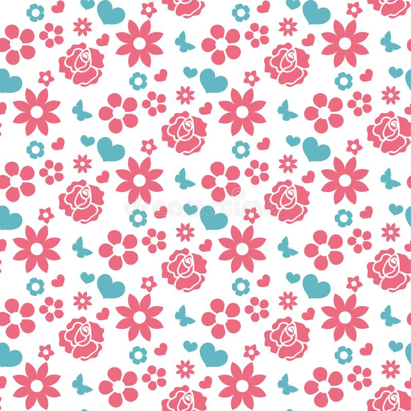 Happy Valentine`s Day seamless pattern. Cute romantic love endless background. Heart, flowers repeating texture. Vector vector illustration