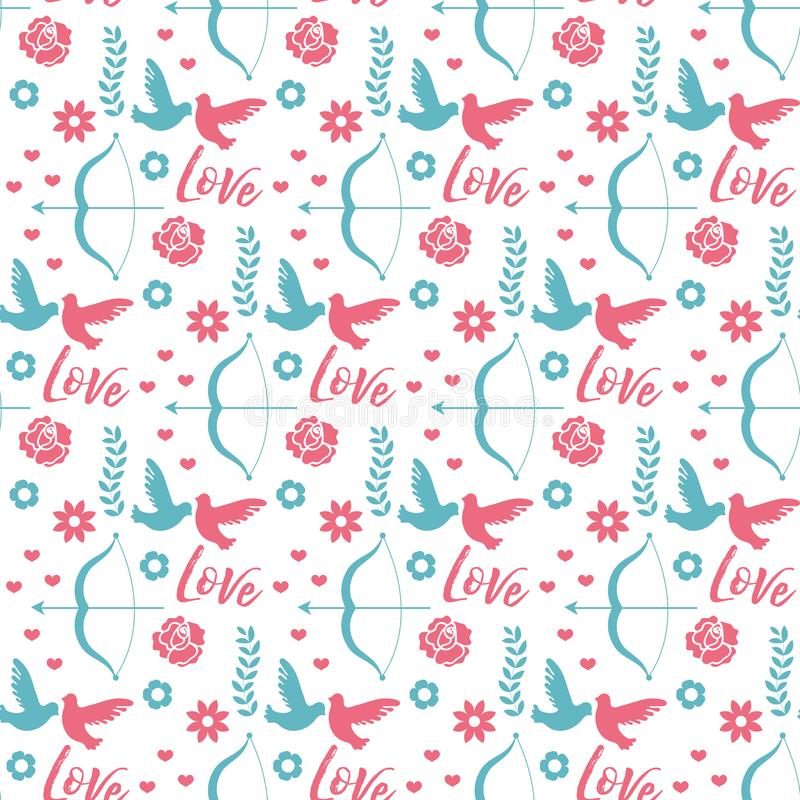 Happy Valentine s Day seamless pattern. Cute romantic love endless background. Heart repeating texture. Vector stock illustration