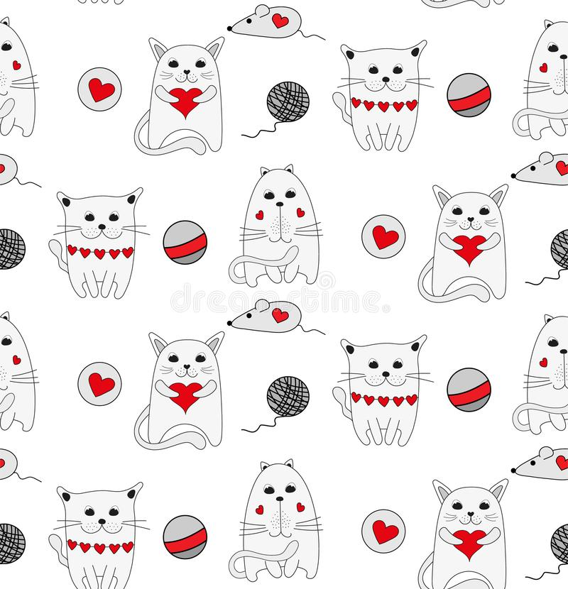 Happy Valentine`s Day seamless pattern. Happy Valentine`s Day illustration pattern. Decorated Hearts kittens, toy mouses, balls of yarns and balls in a seamless royalty free illustration