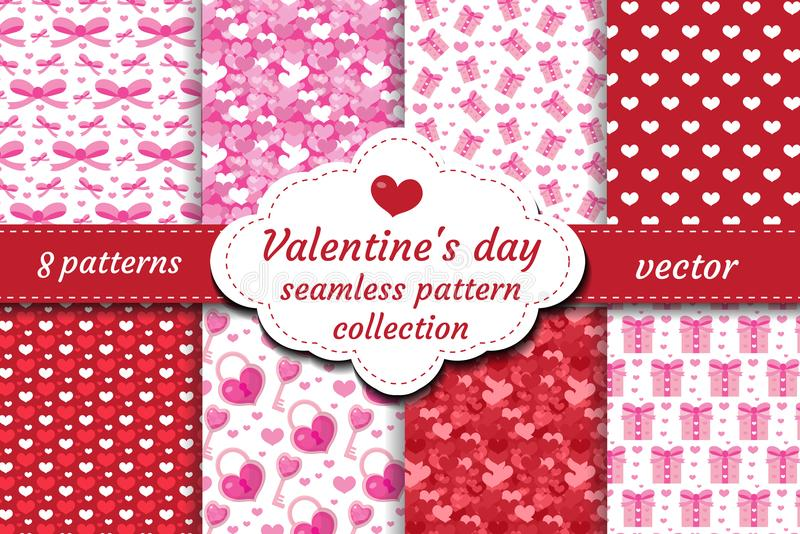 Happy Valentine`s Day seamless pattern set. Collection Cute romantic love endless background. Heart repeating texture. Vector illustration vector illustration