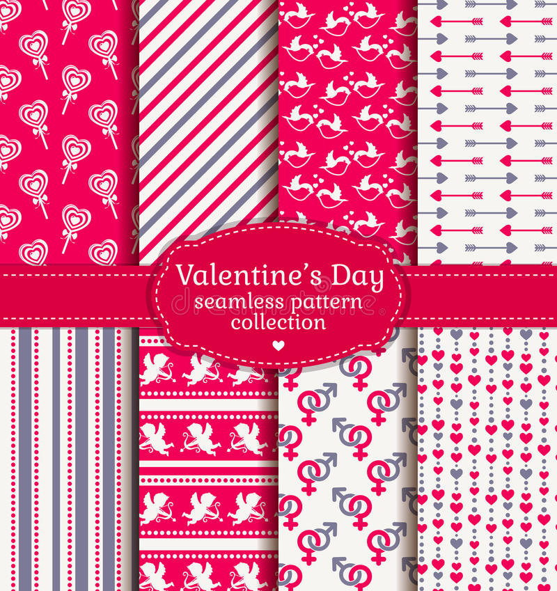 Happy Valentine's Day! Set of love and romantic seamless pattern vector illustration