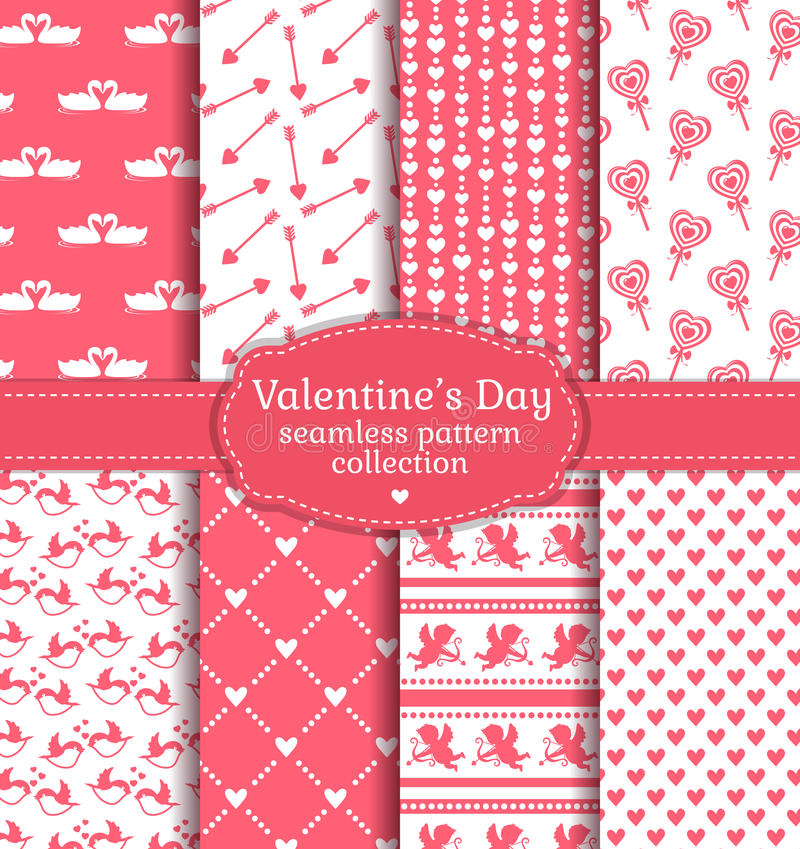Happy Valentine's Day! Set of love and romantic seamless pattern stock illustration