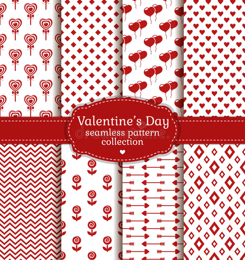 Happy Valentine's Day! Set of love and romantic seamless pattern royalty free illustration
