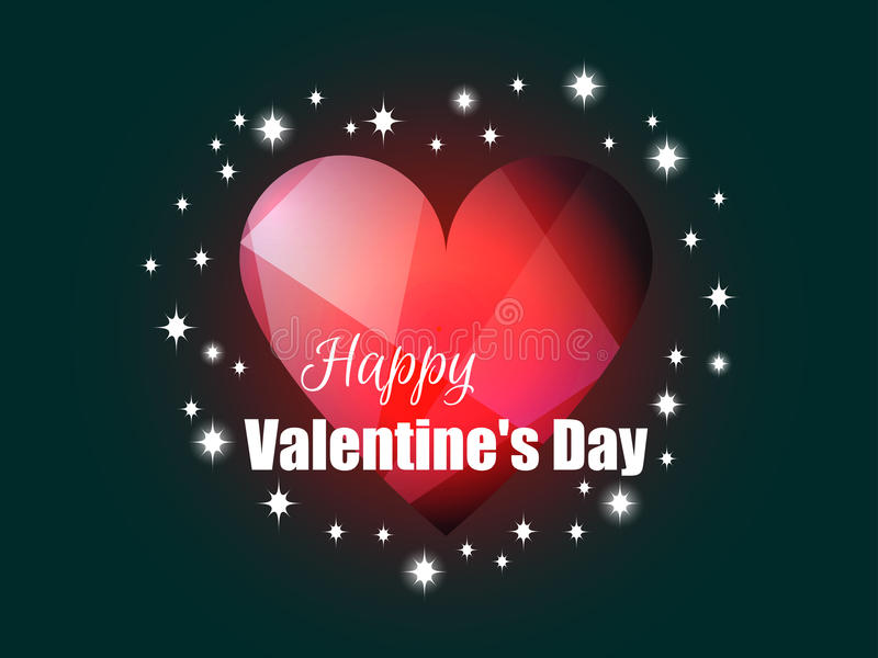 Happy Valentine`s Day. Shining heart with rays of light. Romantic background. Vector. Illustration royalty free illustration