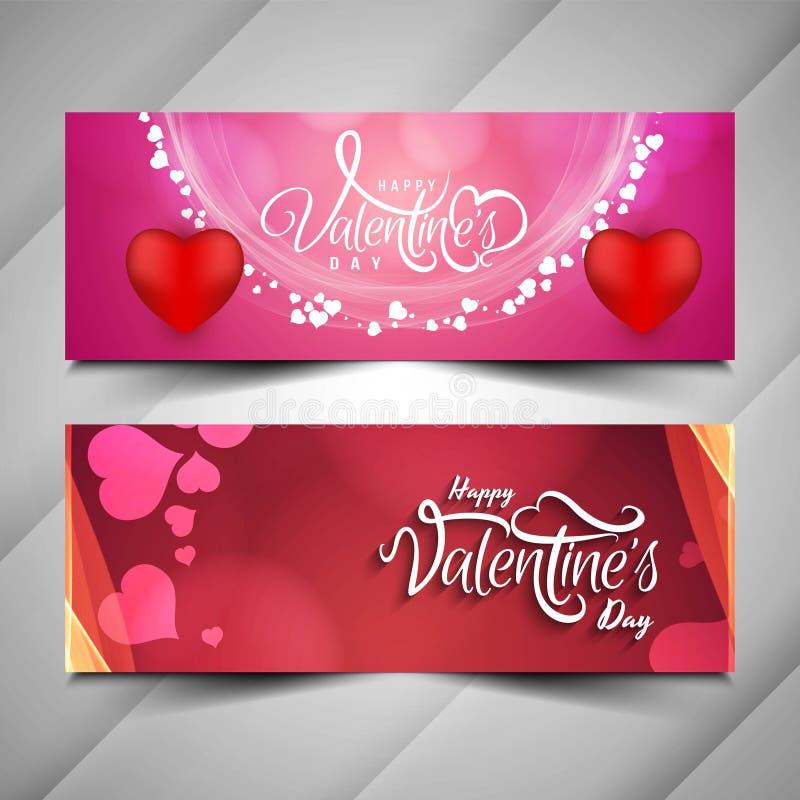 Happy Valentine`s day stylish banner set vector illustration