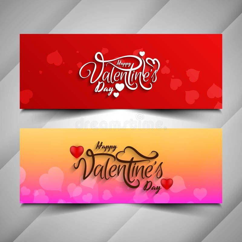 Happy Valentine`s day stylish banner set. Vector vector illustration