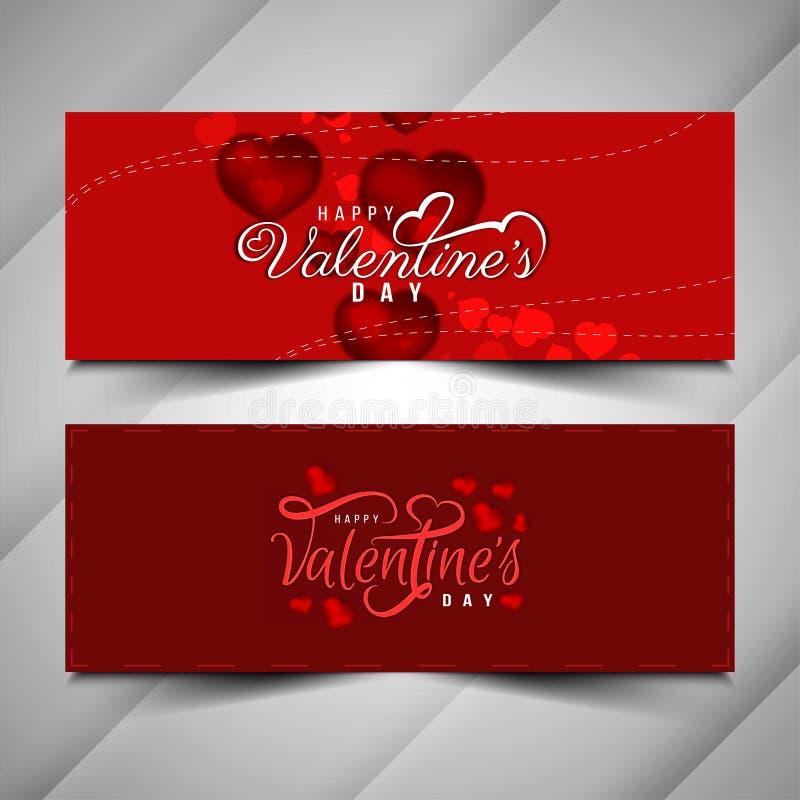 Happy Valentine`s day stylish banner set. Vector stock illustration