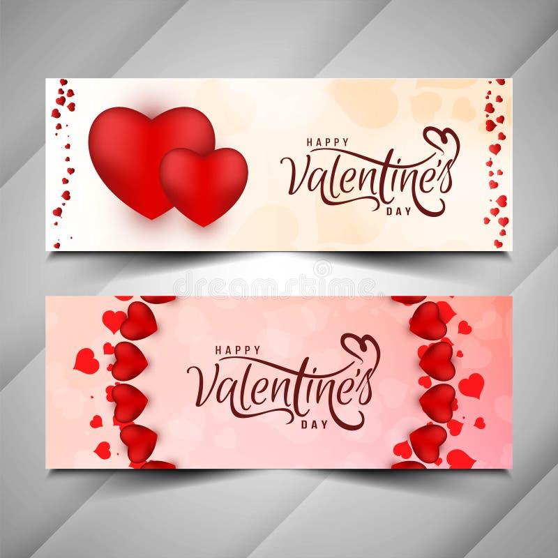 Happy Valentine`s day stylish banner set. Vector royalty free illustration
