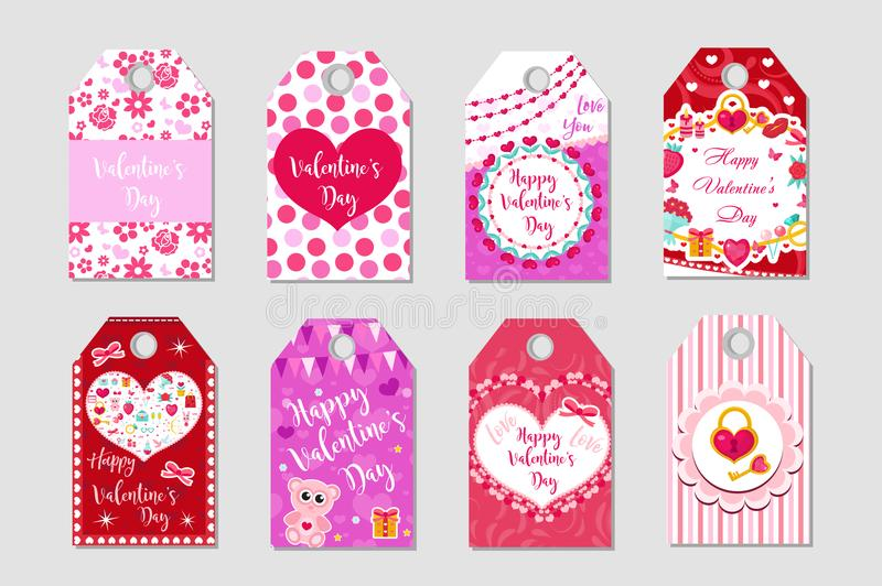 Happy Valentine`s Day tags set. Labels collection with heart, cute love symbol, romance. Holiday card background royalty free illustration