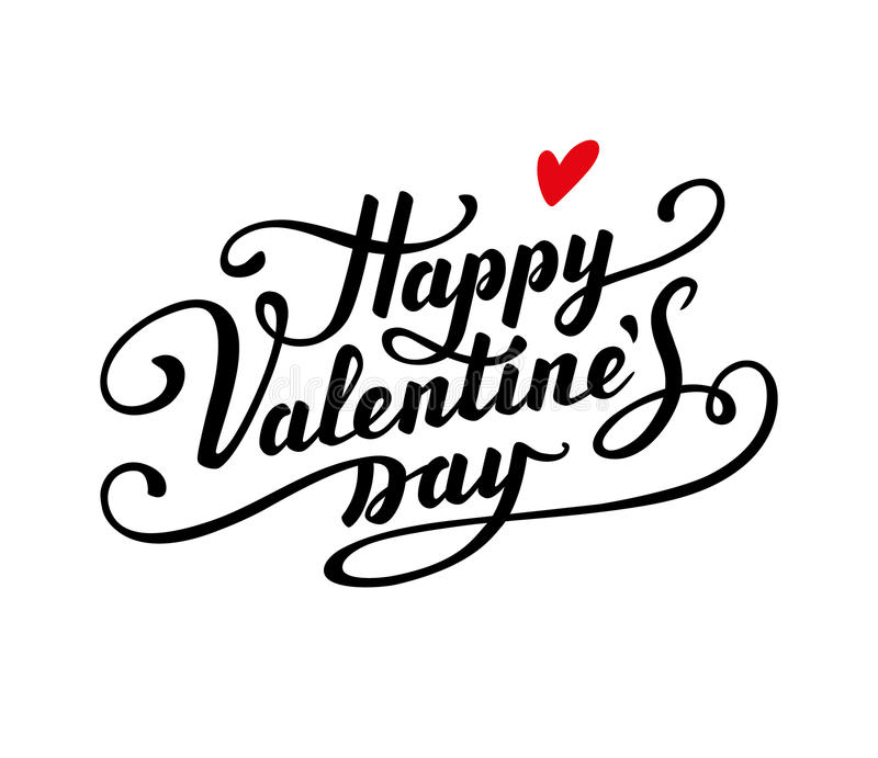Happy Valentine s Day text. Calligraphic Lettering. Greeting card template vector illustration