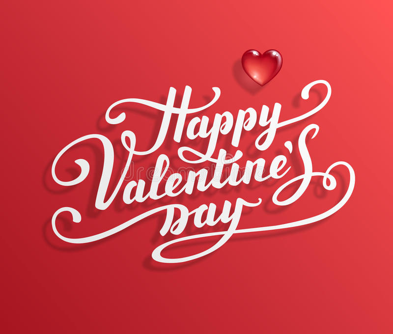 Happy Valentine s Day text. Calligraphic Lettering. Valentine s day greeting card template. Vector illustration royalty free illustration