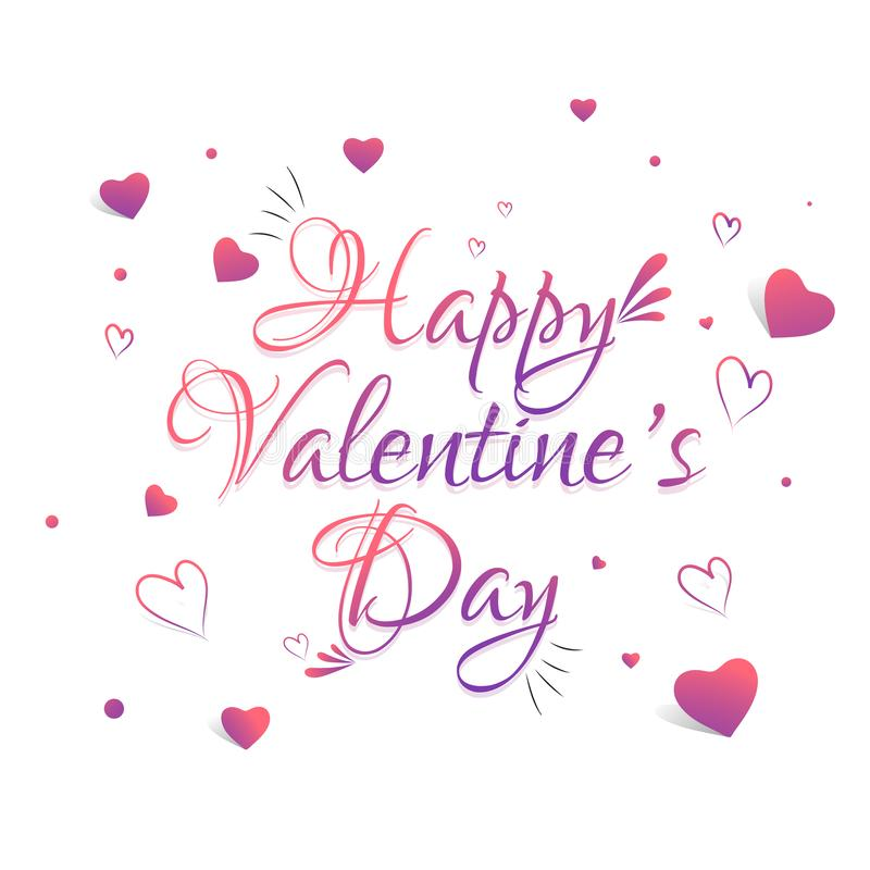 Happy Valentine`s Day text. Calligraphy stock illustration