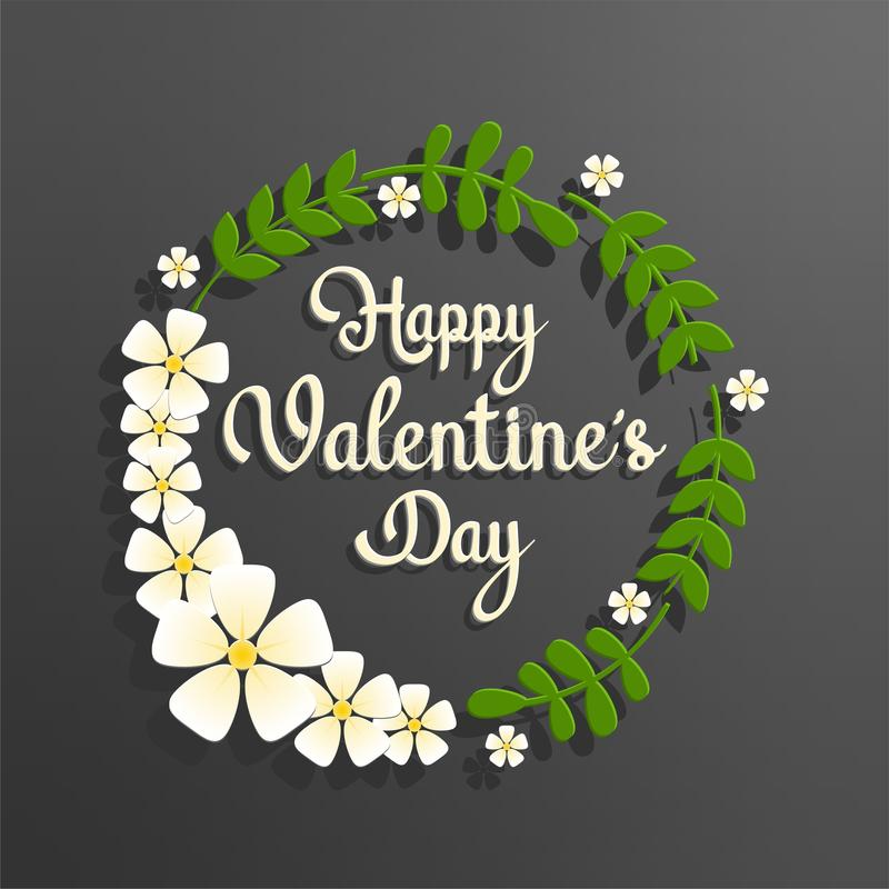 Happy valentine`s day text with circle green floral frame. Happy valentine`s day text on chalk board background with flowers and circle green floral frame, cut royalty free illustration