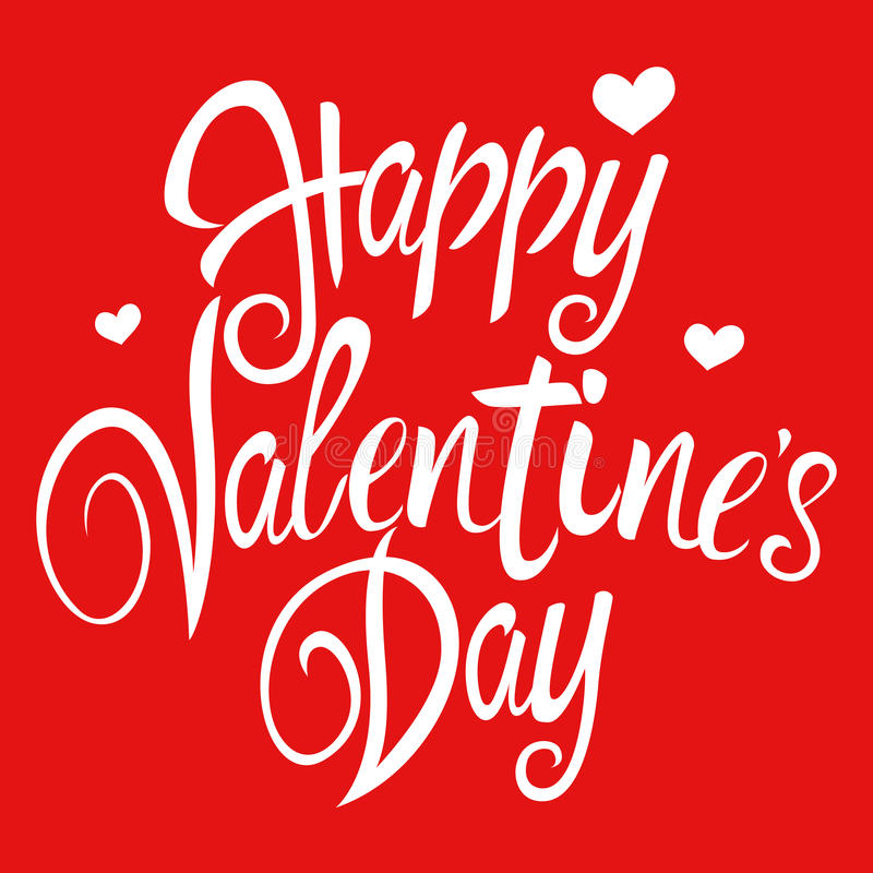 Happy Valentine`s Day. Text of Happy Valentine`s Day with decorative heart symbols for Valentine`s day theme and background vector illustration