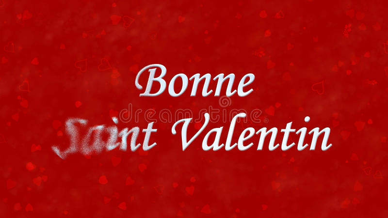 Happy Valentine's Day text in French Bonne Saint Valentin turns to dust from left on red background. Happy Valentine's Day text in French Bonne Saint Valentin stock illustration