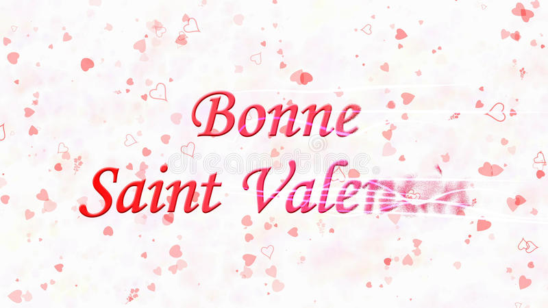 Happy Valentine's Day text in French Bonne Saint Valentin turns to dust from right on light background. Happy Valentine's Day text in French Bonne Saint Valentin stock illustration